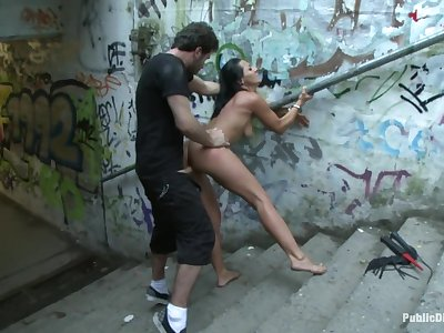 World Famous Dominatrix Down on her Knees Crawling Naked Through the Streets of Europe