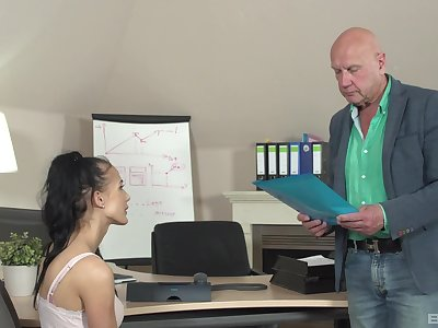 Old bald boss fucks his attractive brunette scrivener Nicole Love