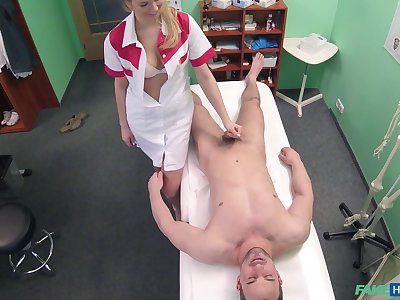 Handsome stud gets his balls drained by a seductive festival nurse