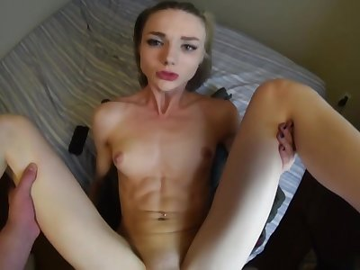 Petite taking my huge unearth in the brush pussy hole