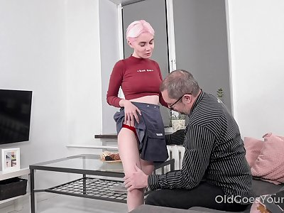 Busty blonde gal Aiya gives patriarch man a blowjob before wettish doggy