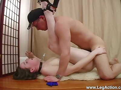 Submissive Emily H. led around on a leash before a hard fuck down Polished