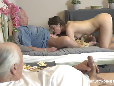 Naughty left alone fresh girl Nana Garnet seduces older pauper to swell up his cock