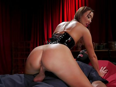 Asian shake out Christy Love dominates a flunkey and then fucks him on high top