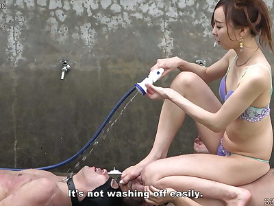 Japanese Femdom Risa shaves make an issue of underling and takes a shower.