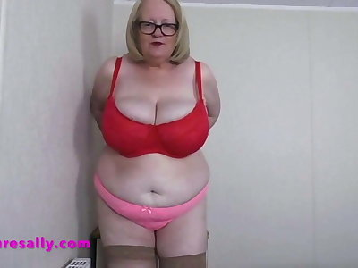 Grandmas tits are too big for say no to red bra