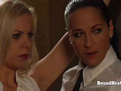 Scheduled Up Blonde Lesbian Slave Groped And Caressed By Madame